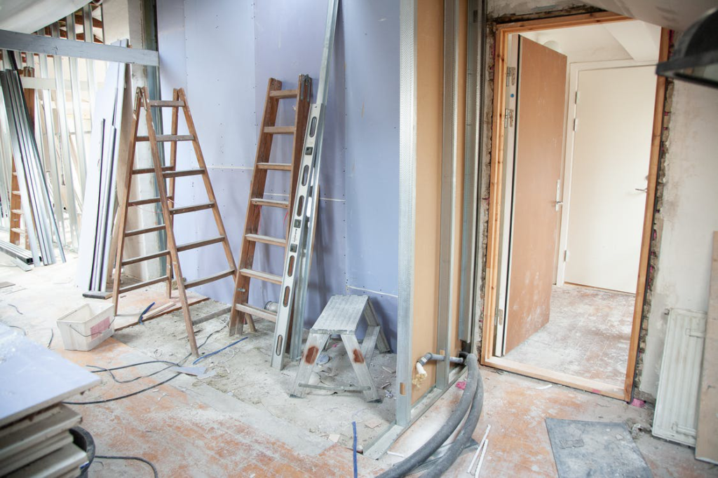A view of the interior of a home undergoing a remodel.