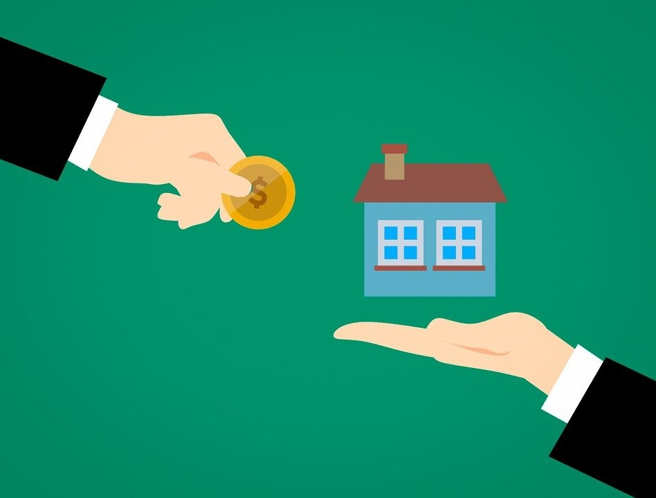 Illustration of two hands signifying the value of a house